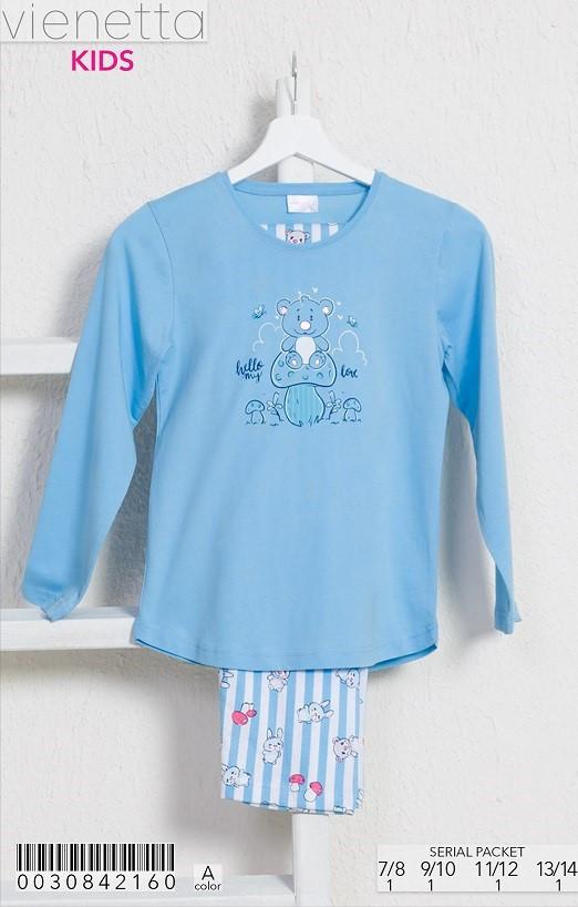 Трикотажная голубая пижама с принтом мишки на грибе для девочек 7-14 лет