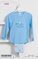 Трикотажна блакитна піжама з принтом ведмедики на грибі для дівчаток 7-14 років