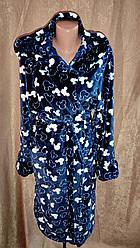 Жіночий махровий халат на запах Темно-Синій Міккі, Короткий халат на запах з капюшоном