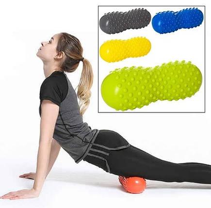 Массажный валик для спины, йоги, фитнеса в форме арахиса 30см, фото 2