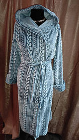 Махровый халат длинный на запах шаль Косы Большого размера