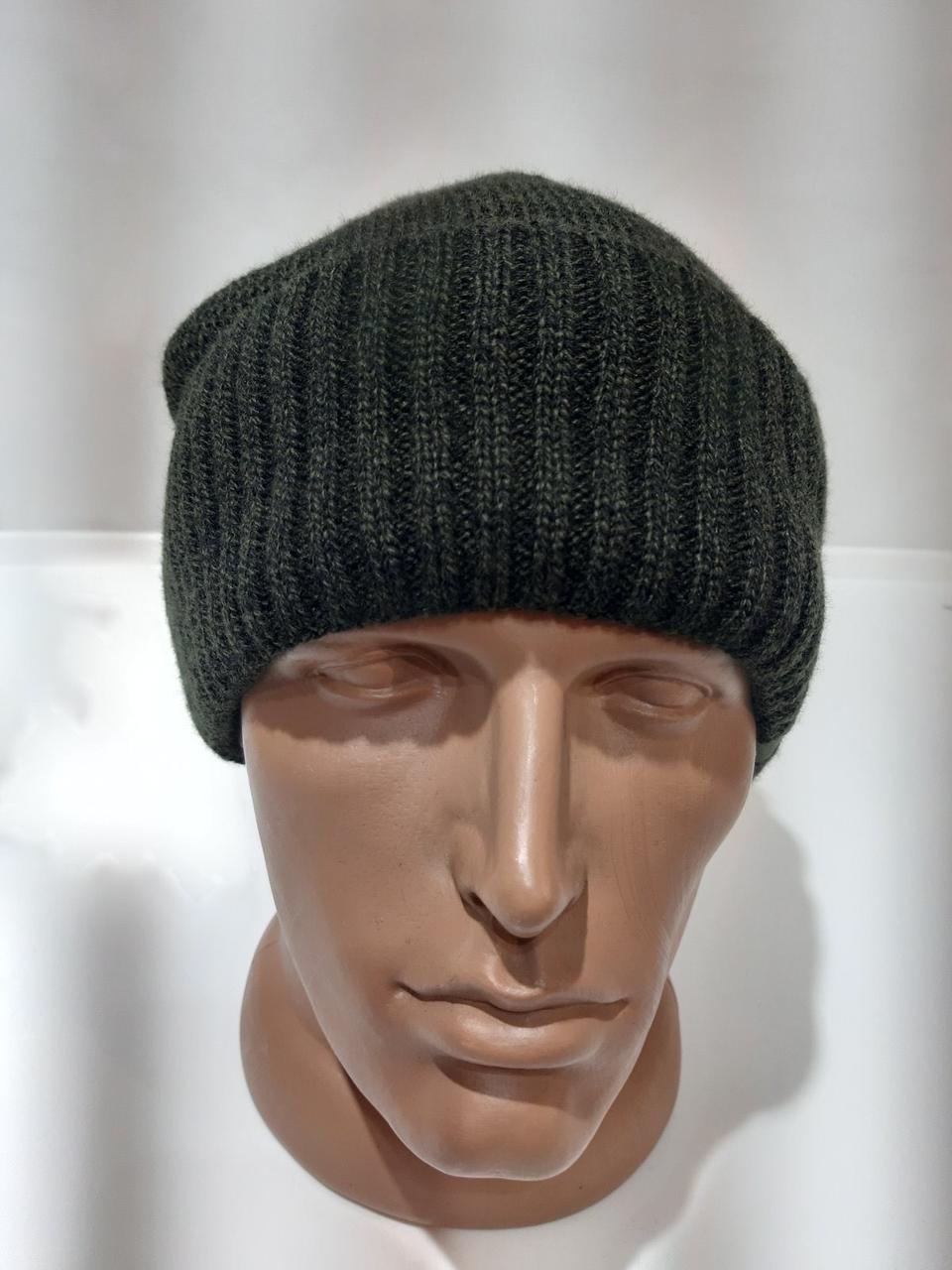 Теплая вязаная мужская шапка на флисе темно-серая с отворотом Турция
