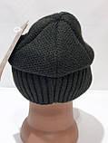 Теплая вязаная мужская шапка на флисе темно-серая с отворотом Турция, фото 6
