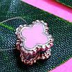 Срібний шарм Конюшина - Шарм конюшина рожева - Срібний шарм конюшина з емаллю, фото 2
