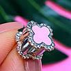 Срібний шарм Конюшина - Шарм конюшина рожева - Срібний шарм конюшина з емаллю, фото 4