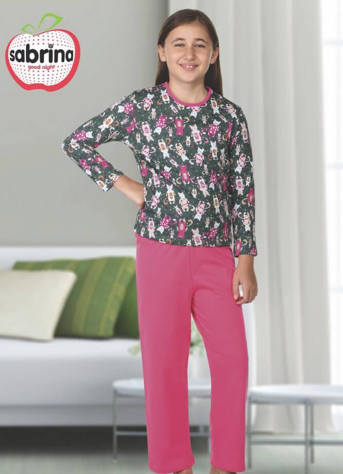 Байковая серо-розовая пижама с принтом кошечек для девочек 3-11 лет