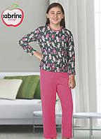Байковая серо-розовая пижама спринтом кошечекдля девочек 3-11лет