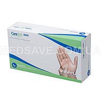 Перчатки виниловые неопудренные размер L - Care365 Premium смотровые одноразовые медицинские нестерильные