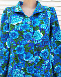 Теплый фланелевый халат 62 размер Синяя поляна, фото 6