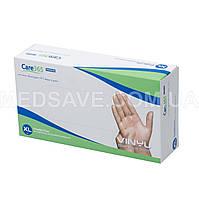 Перчатки виниловые неопудренные размер XL - Care365 Premium смотровые одноразовые медицинские нестерильные
