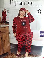 Пижама женская флис+махра (костюм) с повязкой Батал