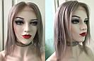 💥 Серый парик (как холодный русый) система из натуральных волос, полная сетка 💥, фото 3