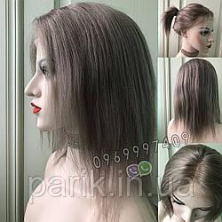💥 Серый парик (как холодный русый) система из натуральных волос, полная сетка 💥