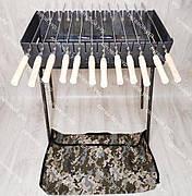 Мангал раскладной в чемодан 3 мм 12 шампуров с деревянными ручками и чехлом в комплекте, фото 2