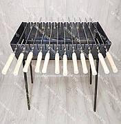 Мангал раскладной в чемодан 3 мм 12 шампуров с деревянными ручками и чехлом в комплекте, фото 3