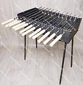 Мангал розкладний у валізу 3 мм 12 шампурів з дерев'яними ручками і чохлом в комплекті, фото 2