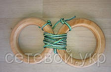 Деревянные гимнастические детские кольца (зелёные) плюс Канат хб 26 мм для шведской стенки , фото 2