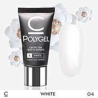 Полигель CosmoLac для нарощування нігтів, акрил, гель, 30 мл. White Білий 004