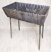 Мангал 3 мм Огонёк раскладной в чемодан с шампурами с деревянной ручкой 10 шт СЕВ, фото 2