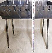 Мангал 3 мм Огонёк раскладной в чемодан с шампурами с деревянной ручкой 10 шт СЕВ, фото 3