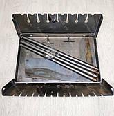 Мангал 3 мм на Огонёк раскладной в чемодан с чехлом и шампурами с деревянной ручкой 10 шт, фото 3
