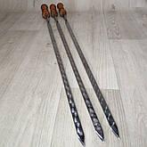 Шампура с лакированной деревянной ручкой из нержавейки длина 75см толщина 3мм, фото 2