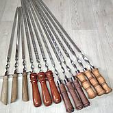 Шампура з дерев'яною ручкою з нержавіючої сталі довжина 75см товщина 3мм, фото 3