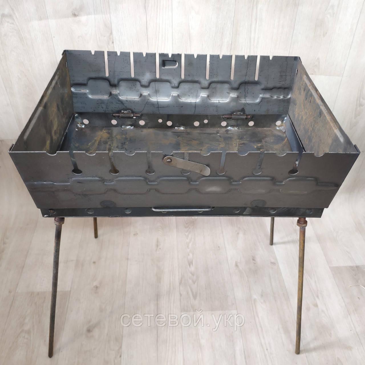 Мангал раскладной в чемодан толщиной 2мм с ножками на 8 шампуров