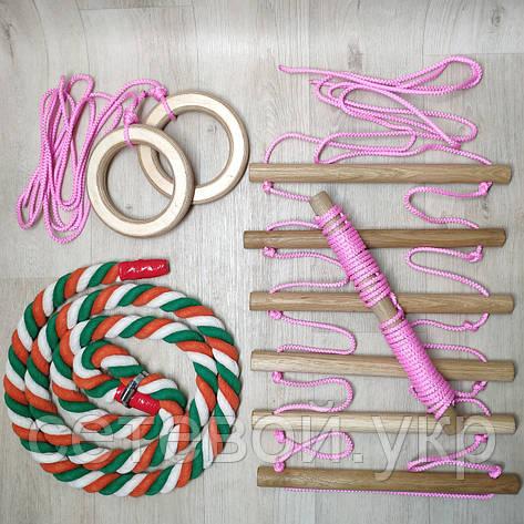 Набор детский розовый для шведской стенки Канат (радуга) Кольца, Лестница, Трапеция, фото 2