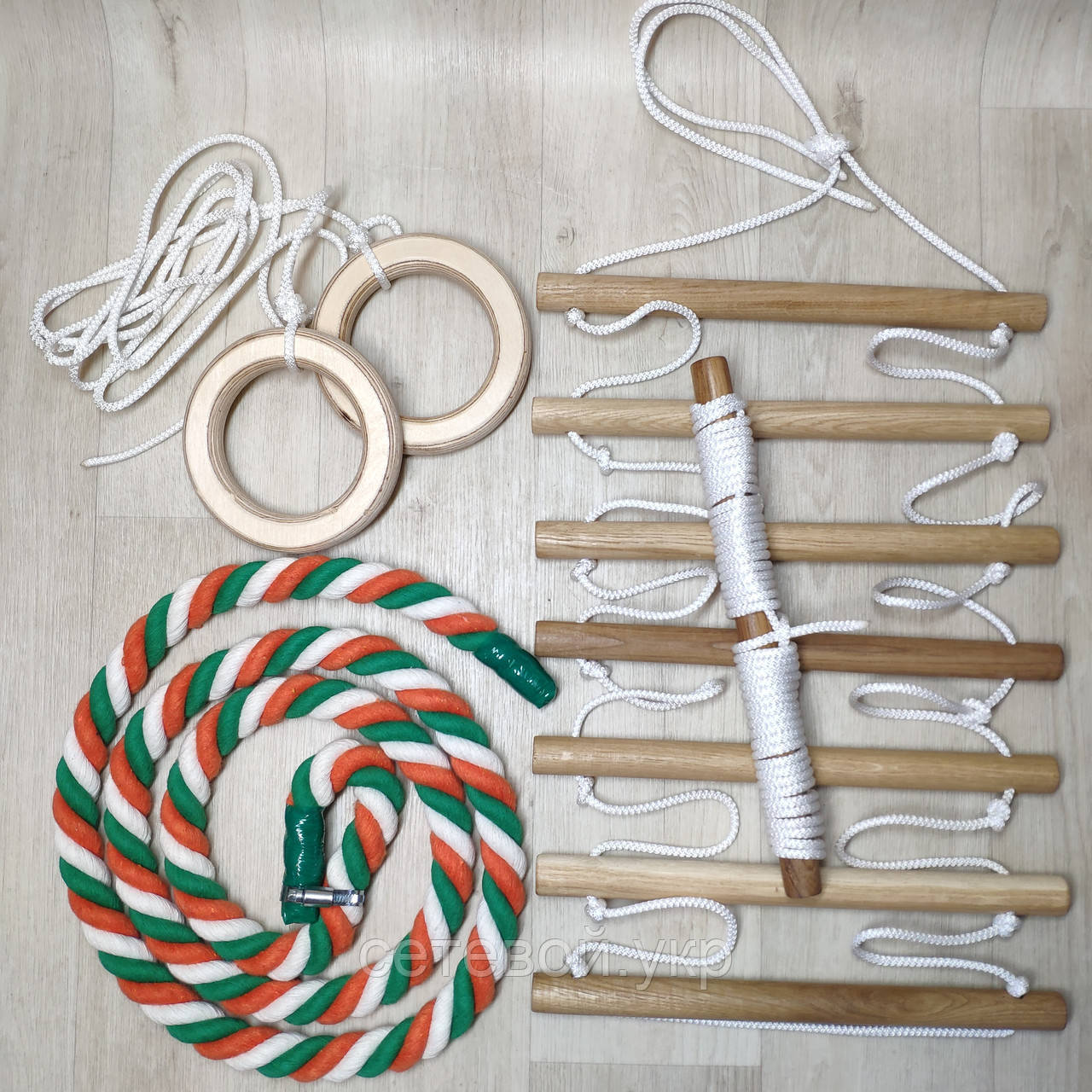 Набор детский белый  для шведской стенки Канат (хб радуга) Кольца, Лестница, Трапеция