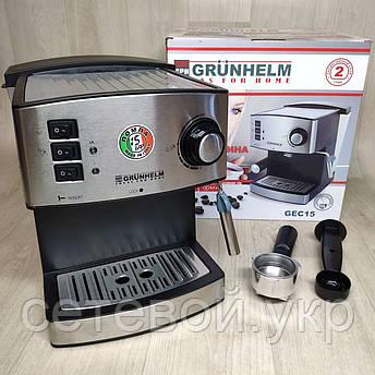 Кофеварка рожковая Grunhelm GEC15 кофемашина, фото 2