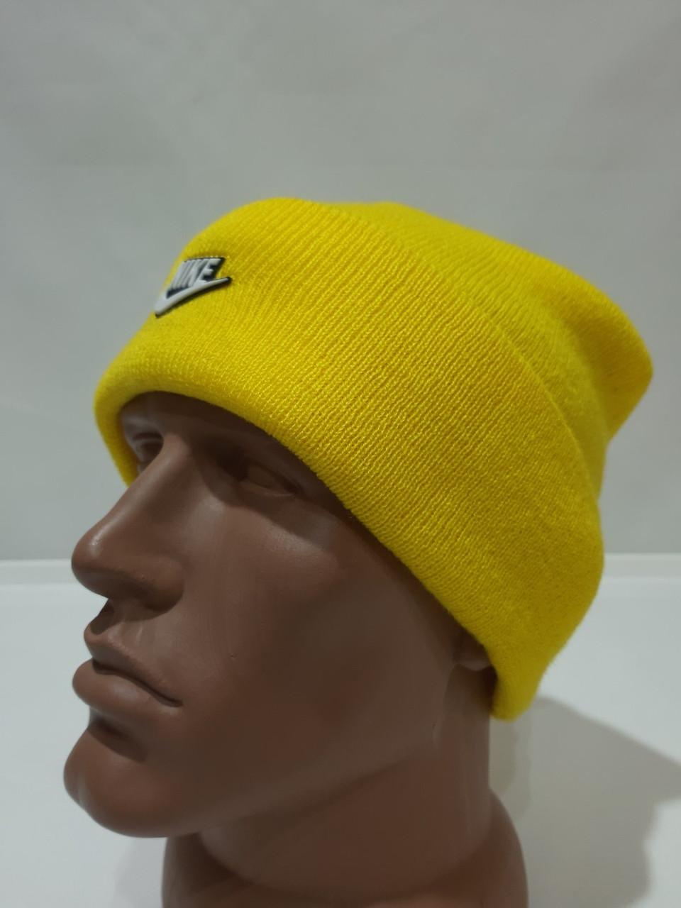 Шапка мужская зимняя теплая качественная с отворотом желтая