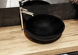 Умивальник з кварцового піску PALERMO 500х500 матовий, чорний ТМ Miraggio