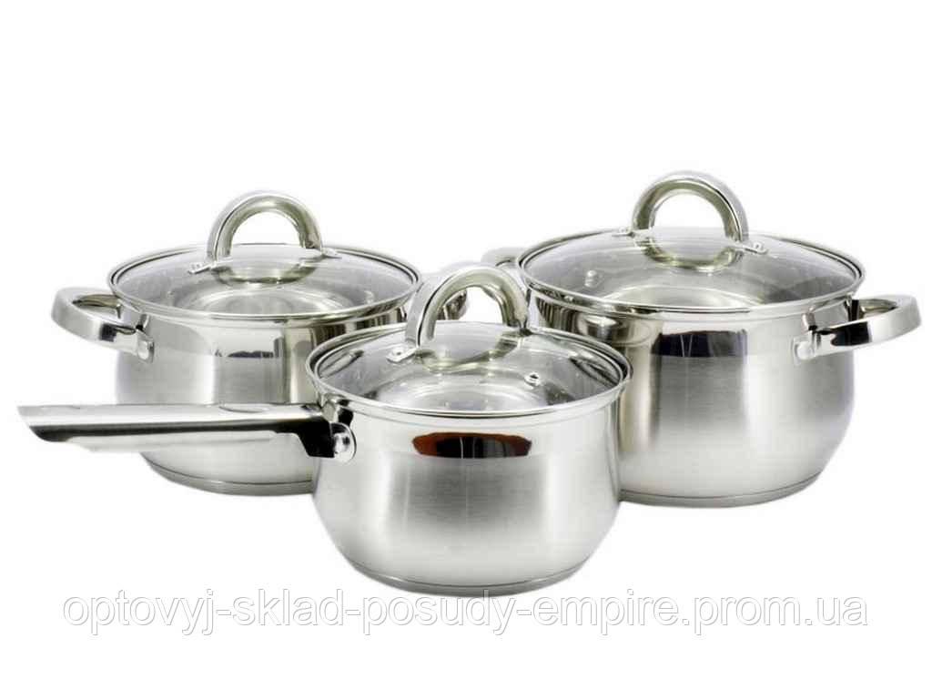 Набір посуду нержавійка 3пр. каструлі 3л; 4л і ківш 2л ZB-2SS34S