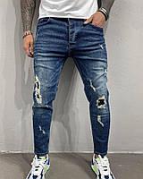 Модные рваные мужские джинсы зауженные синие | Производитель Турция