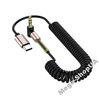 Аудио кабель Tiegem Premium AUX Type-C - mini jack 3.5мм. AUX-адаптер Type-C to AUX (3,5мм) CD431Q, фото 1