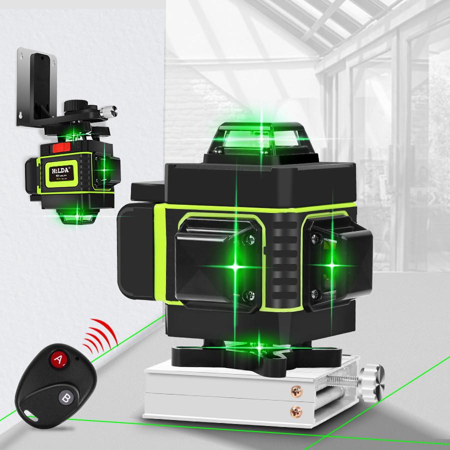 Лазерный уровень Hilda 4D 16 линий с дисплеем заряда ➜ ПУЛЬТ ➜ Зеленые лучи