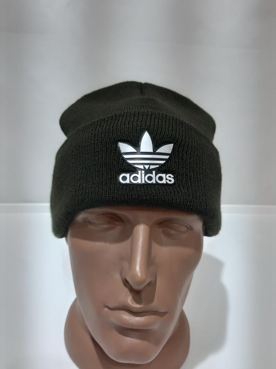Зимова кашемірова чоловіча шапка з відворотом хакі