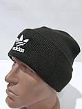 Зимова кашемірова чоловіча шапка з відворотом хакі, фото 8
