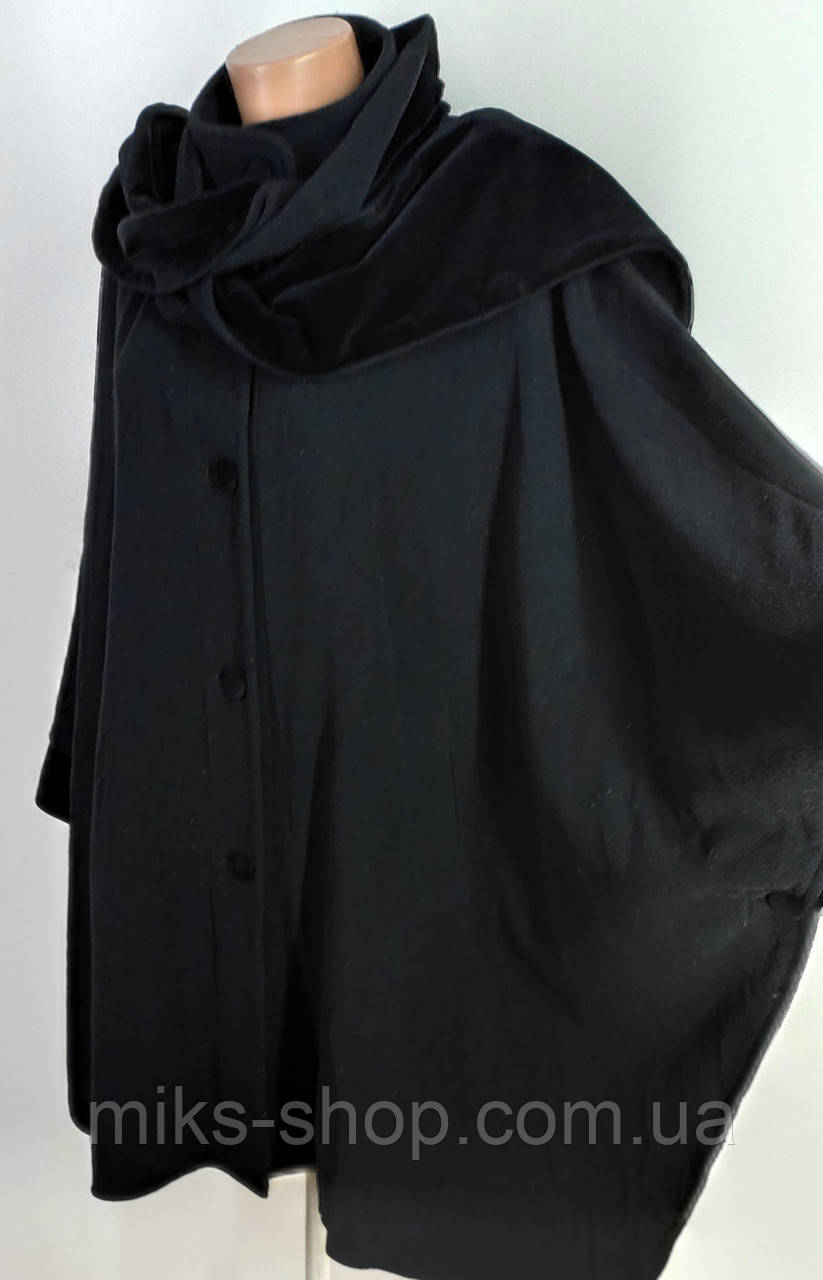 Пончо пальто великого розміру із шарфиком  64-66 ( Б-78)