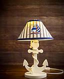 Деревянная белая настольная лампа, Якорь с вышитым абажуром., фото 8