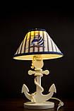 Деревянная белая настольная лампа, Якорь с вышитым абажуром., фото 10