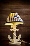 Деревянная белая настольная лампа, Якорь с вышитым абажуром., фото 9