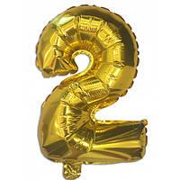 Шар цифра 2 фольгированный золото 35 см.
