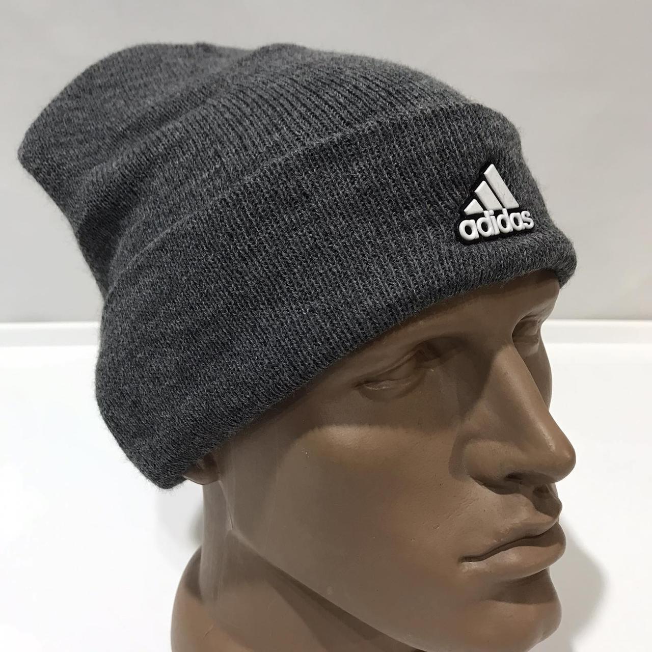 Мужская зимняя шапка с кашемиром темно-серая отличного качества