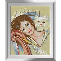 31324 С кошкой. Dream Art. Набор алмазной живописи (квадратные, полная)