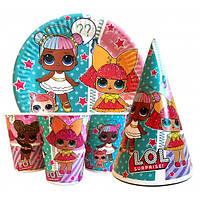 """Набор для детского дня рождения """" Куклы Лол """" Тарелки -10 шт Стаканчики - 10 шт Колпачки - 10шт"""