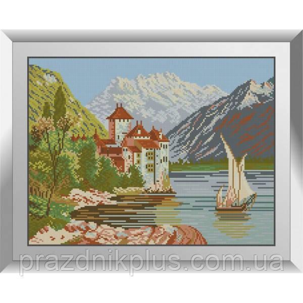 31593 Озерный замок. Dream Art. Набор алмазной живописи (квадратные, полная)