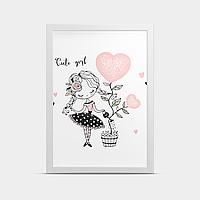 Постер на стену в детскую Девочка и цветок 30*40 см