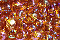 Бисер чешский Preciosa 11090, Круглый, Цвет:Прозрачный, радужный, коричневый. 10/0 50 грамм/уп